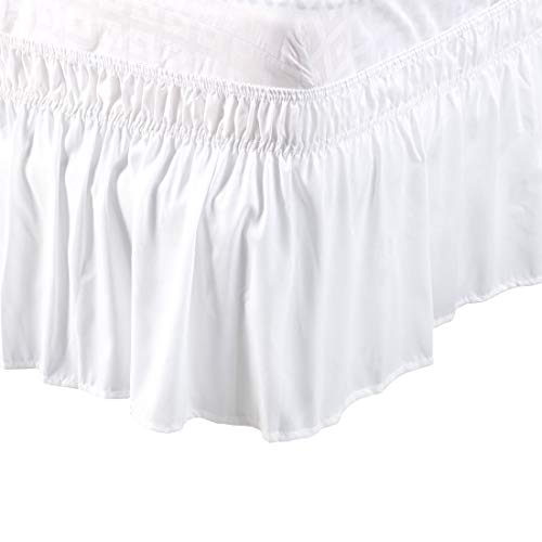 PiccoCasa PiccoCasa Detachable Bed Skirt Wrap Around Three Fabric Sides Elastic Dust Ruffle, Easy Fit Wrinkle - with 15 Inch Drop White, Queen Size(80-Inch-by-60-Inch)