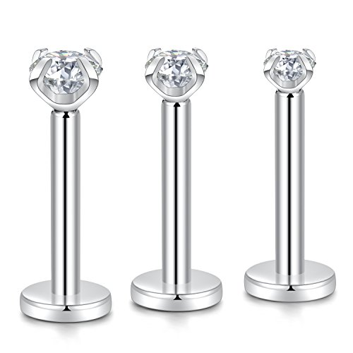 GAGABODY 3pcs G23 Titanium 16G 6mm Clear CZ Internally Threaded Tragus Earring Helix Cartilage Studs Piercing Set