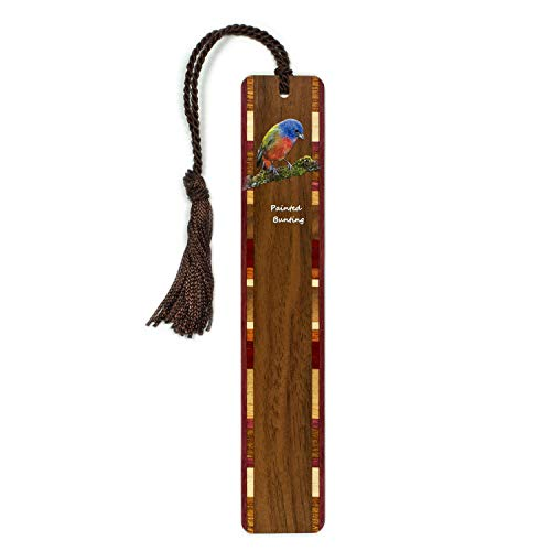 Painted Bunting- Cardinal - Bird - Wooden Bookmark with Tassel