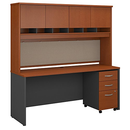 Bush Business Furniture Series C 72W x 24D Office Desk with Hutch and Mobile File Cabinet in Auburn Maple