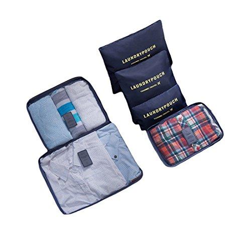 Clothes Travel Luggage Organizer Pouch (Dark Blue) Set of 6 - 7