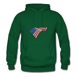 Women American Flag Printed Green Style Personality Deepheather X-large Sweatshirts