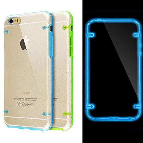 Tech Express (Tm) Green and Blue Set of Two Glow in the Dark Fun Unique Luminous Thin Slim Transparent Cover Case for Apple iPhone 6s / 6sg or 6 4.7