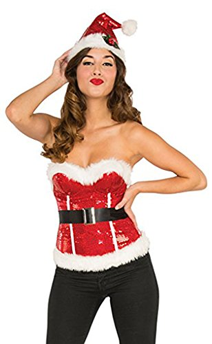Sequin Deluxe Corset (Faerynicethings Adult size Red Deluxe Sequin Santa's Corset - Small 2-6)