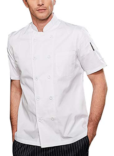 BOUPIUN Men's Summer Chef Coat Short Sleeve Cool Cooking Uniform Classic Chef Jackets