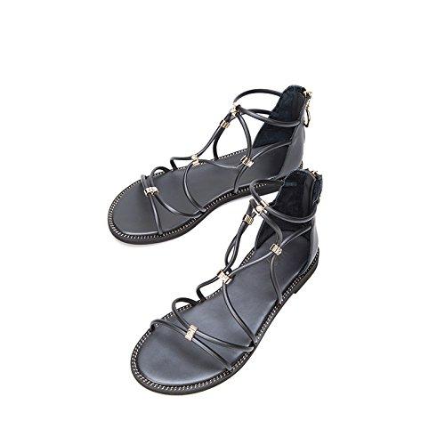 Tacón de Color de bajo de de Ocasionales Dulces de Planas Negro 38 Verano Altos de Sandalias Mujer Tacones Sólido Moda Zapatillas DHG Punta Sandalias Sandalias UXfwqHaRx