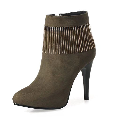 Toe Booties Pointed Heel Dress Stiletto Zip KingRover Side Fringe Women's Suede Faux Ankle High tOvqSwI