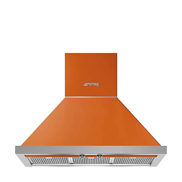 Smeg Portofino Series 30-Inch Wall Mount Ducted Chimney Hood with 600 CFM, Recirculating Option & LED Lights (Orange) 1