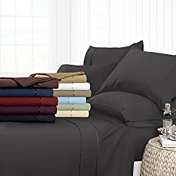 Egyptian Luxury Hotel Collection 4-Piece Bed Sheet Set - Deep Pockets, Wrinkle and Fade Resistant, Hypoallergenic Sheet and Pillow Case Set  - Queen, Gray