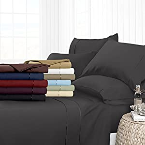 Egyptian Luxury 1700 Hotel Collection 4-Piece Bed Sheet Set - Deep Pockets, Wrinkle and Fade Resistant, Hypoallergenic Sheet and Pillow Case Set  - Full, Gray