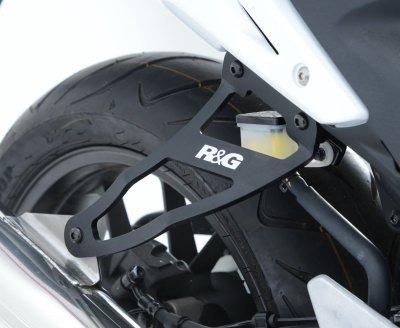 R&G Exhaust Hanger & left hand footrest blanking plate (kit), Black, CBR500R / CB500F '13 / CB500X