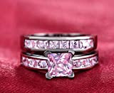 KEANER Lovely Gift Princess Style Fashion Females Wedding Double Layer Sets Ring with Rhinestone Zircon Micro-Plated Ring(Pink 10)