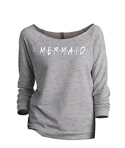 Thread Tank Mermaid Friends Women's Fashion Slouchy 3/4 Sleeves Raglan Sweatshirt Sport Grey 2X-Large (Fin Wht)