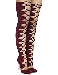 Chaos Lace up Thigh High Boots by The Loud Factory for FLYJANE