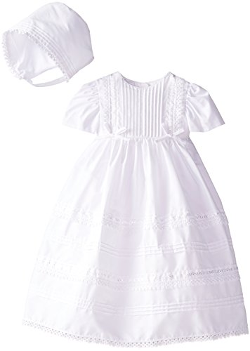 Haddad Brothers Baby-Girls Newborn Christening Baptism Special Occasion 100 percent Cotton Dress with Tucking, White, 6-9 Months