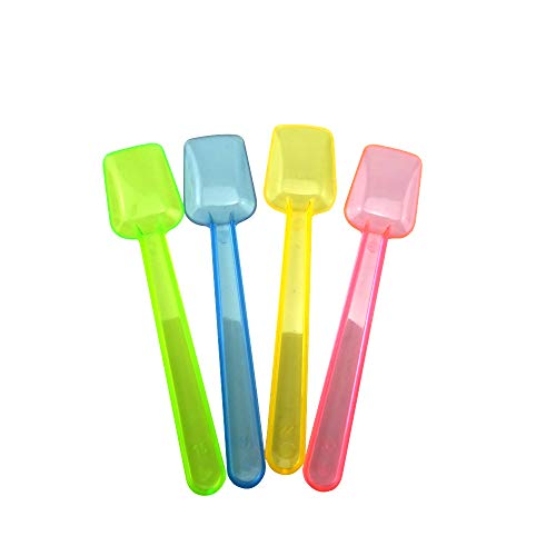 (Honbay 100PCS Assorted Color 3.74 Inch Mini Plastic Shovel Spoons Perfect For Sampling Tasting or Taste Testing Frozen Desserts Ice Cream Cereal Yogurt Cake Pie or any Food You Desire)
