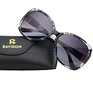 BAVIRON Womens Butterfly Sunglasses Oversized Marbles Polarized UV400 Glasses (Grey/Grey)