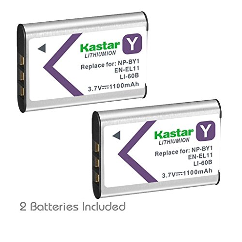 Kastar Compatible Battery 2 Pack Replacement for NP-BY1 EN-EL11 LI-60B DLI-78 DB-L70 DB-80 LI-60C MH-64 and Sony Action Cam Mini HDR-AZ1 Nikon Coolpix S550 S560 Olympus FE-370 Sanyo Xacti VPC-E10 - Nikon Sanyo Xacti