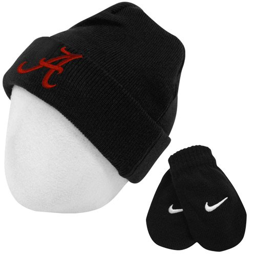 Nike Alabama Crimson Tide Toddler Logo Knit Cap Beanie and Mitten Set, 2T-4T, Black -