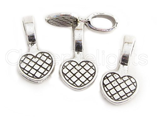 CleverDelights 25 Heart Bails - 20x10mm - Antique Silver Color - Medium Glue On Bails - Scrabble Glass Pendants Craft Heart Bails - 3/4 x 3/8 inch 20mm x 10mm