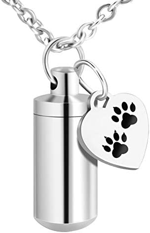 abooxiu Pet Paw Cremation Jewelry Cylinder Urn Necklace for Ashes Holder Stainless Steel Memorial Pendant Keepsake - Customize Available