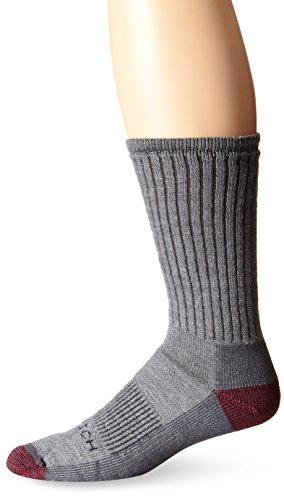 Woolrich Men's Ten Mile Hiker Crew Sock 2-Pack, Gray/Red Rock, Size:10-13/Shoe Size: 6-12