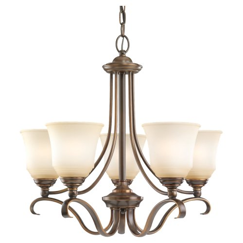 Sea Gull Lighting 31380-829 Five-Light Parkview Chandelier with Ginger Glass Shades, Russet Bronze Finish
