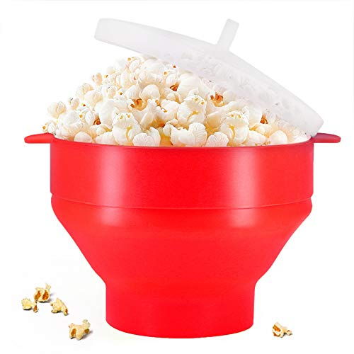 Microwaveable Silicone Popcorn Popper, BPA Free Collapsible Hot Air Microwavable Popcorn Maker Bowl, Use In Microwave - Oil Free