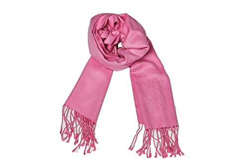 (High Style 100% Brushed Pure Silk Men and Women Long Solid Scarf (Pink, Z32))
