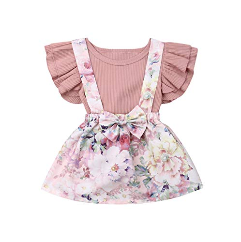 (Toddler Baby Girls Clothes Set Ruffle Short Sleeve T-Shirt Tops+ Bunny Overall Skirt (Pink, 2-3 Years))