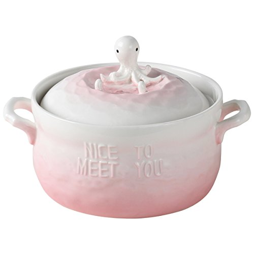 UPSTYLE Microwave Oven Ceramic Soup Bowls 3D Cute Ocean Animal Pink Octopus Instant Noodle Bowl Cereal Serving Pot/Casserole for Salad Fruit with Lid and handle,29oz (Pink Octopus) by UPSTYLE