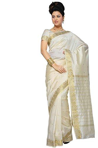 Indian Selections - Cream Art Silk Saree Sari fabric India Golden Border