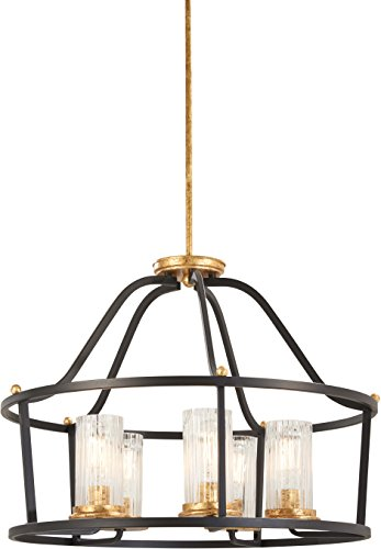 Minka Lavery Pendant Lantern Ceiling Lighting 4515-100 Posh Horizon, 5-Light 300 Watts, Sand Black