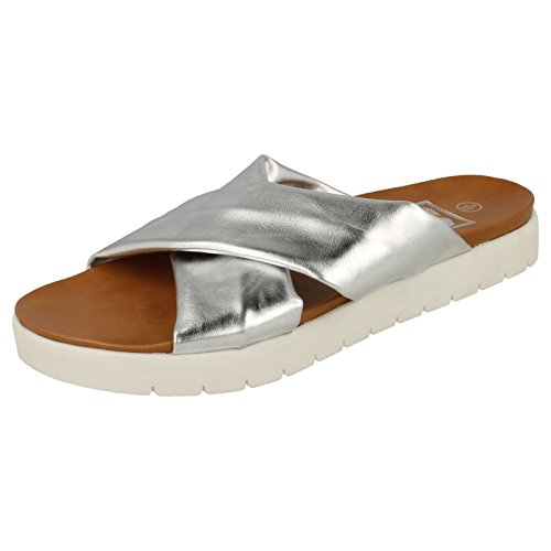 Ladies Down To Earth Summer Sandals Silver WTmGCD