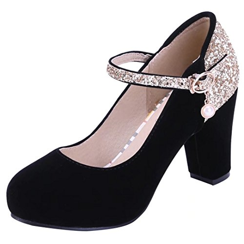 YE Womens High Block Heels Mary Janes Court Shoes with Ankle Strap Close Toe Sandals Summer Shoes Black