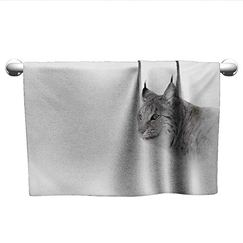 (xixiBO Best Towel W24 x L8 Hunting,Lynx in The Central Norway Wild Cat North Cold Snowy Mountain Carnivore Predator,Grey White Oversized Bath Towel)