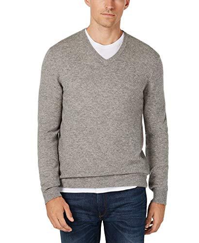 Club Room Men's V-Neck Cashmere Sweater Gray XXXL