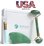 Original Jade Roller and Gua Sha Tools Set- Jade Roller For Face- Real 100% Jade- Face Roller For Wrinkles, Anti Aging- Authentic, Durable, Natural, No Squeaks- Bonus Mask Brush