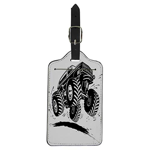 Pinbeam Luggage Tag Mud Cartoon Monster Truck Available Tyre Tire Car Suitcase Baggage Label