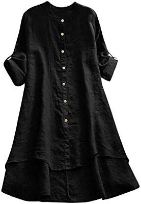 ZODOF Camisa De Lino para Mujer Blusa con Botones Camiseta Dobladillo Irregular Vestido De Talla Grande: Amazon.es: Instrumentos musicales