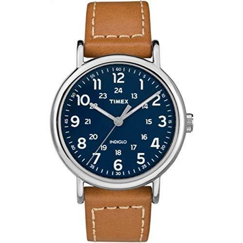 Timex Men's TW2R42500 Weekender 40mm Brown/Blue Two-Piece Leather Strap Watch