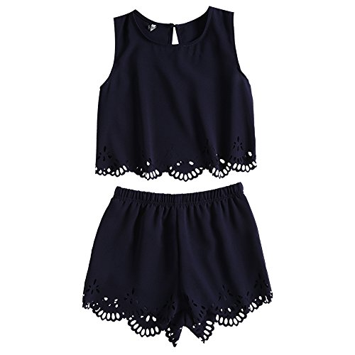 (ZAFUL Women's 2 Piece Outfits Sleeveless Laser Cut Crop Cami Top and Shorts Set Black )