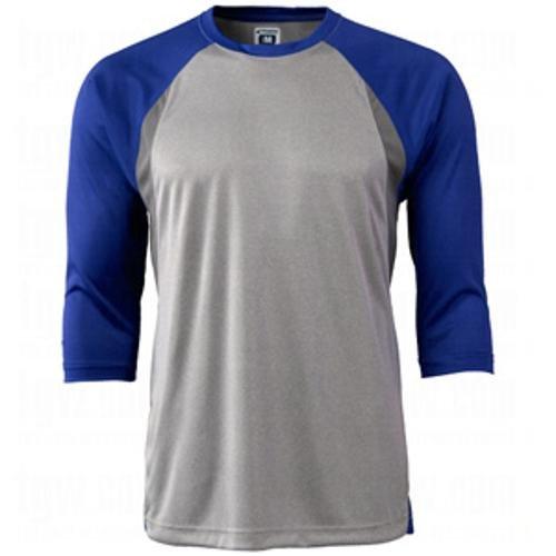 CHAMPRO Extra Innings 3/4 Sleeve Baseball Shirt; M; Grey, Royal Sleeve; Adult Extra Innings 3/4 Sleeve Baseball T Shirt