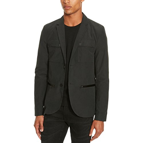 - Kenneth Cole REACTION Men's Two Button Military Blazer, Black Combo, X-Large
