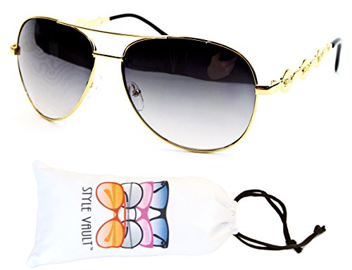 A139-vp Style Vault Aviator Metal Sunglasses (E1528G Gold-Smoked, - Gun Top Aviator Sunglasses