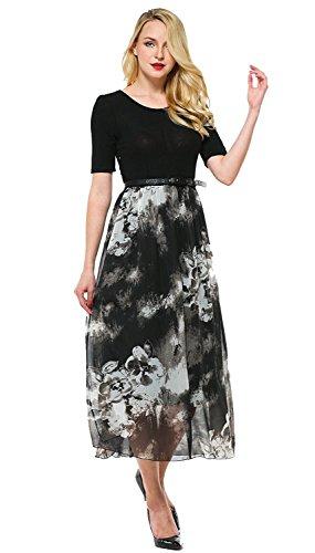 Summer Short Sleeve Chiffon Maxi Dress (Black) - 3