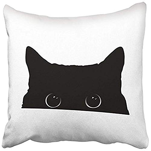 Wbsdfken Throw Pillow Covers 18x18 inches Decorative Square Cushion White Halloween Cute Black Cat Face with Big Eyes Peeking Silhouette Drawing Two Sides Print Pillowcase for Bed Chair Sofa -