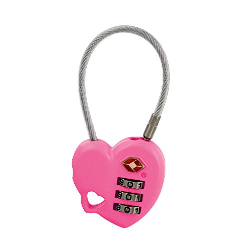 MoDA Travel Easy to Use- TSA Recognized Resettable Combination Lock Luggage Travel Lock-Pink