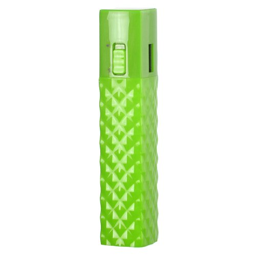 Importer520 2600mAh Ultra Compact Lipstick Size Portable Power Bank Backup External Battery Charger for For Samsung Exhibit II 4G T679 - Green