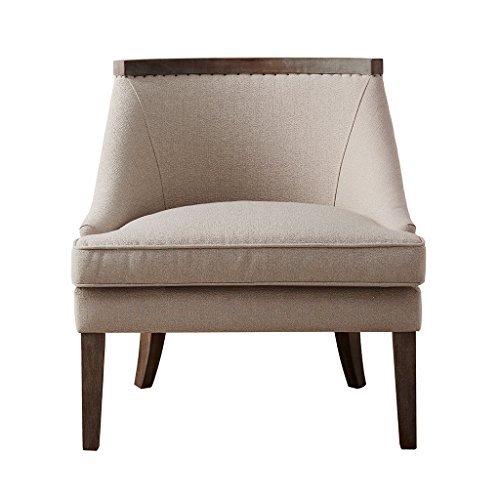 We love the curved timber across backrest of this cream linen-inspired accent chair. Its the ideal c